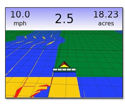 Вид на экране навигатора Matrix-570 обработанных участков поля